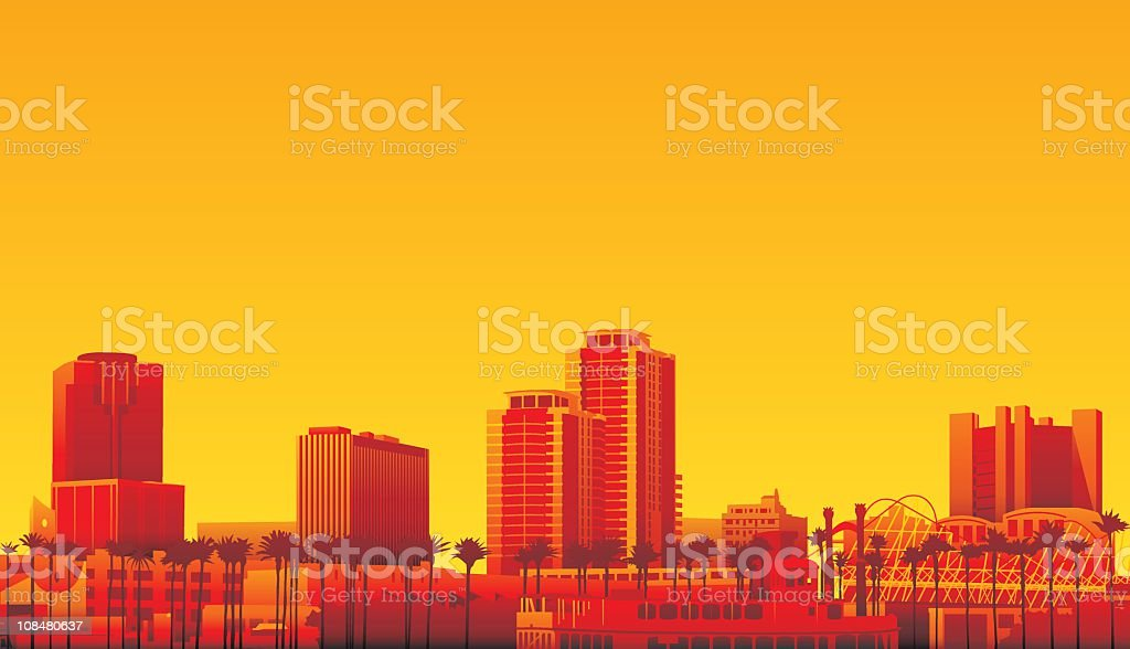 Long beach California vector art illustration