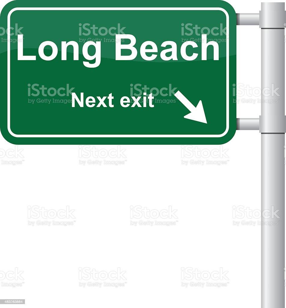 Long Beach next exit green signal vector vector art illustration