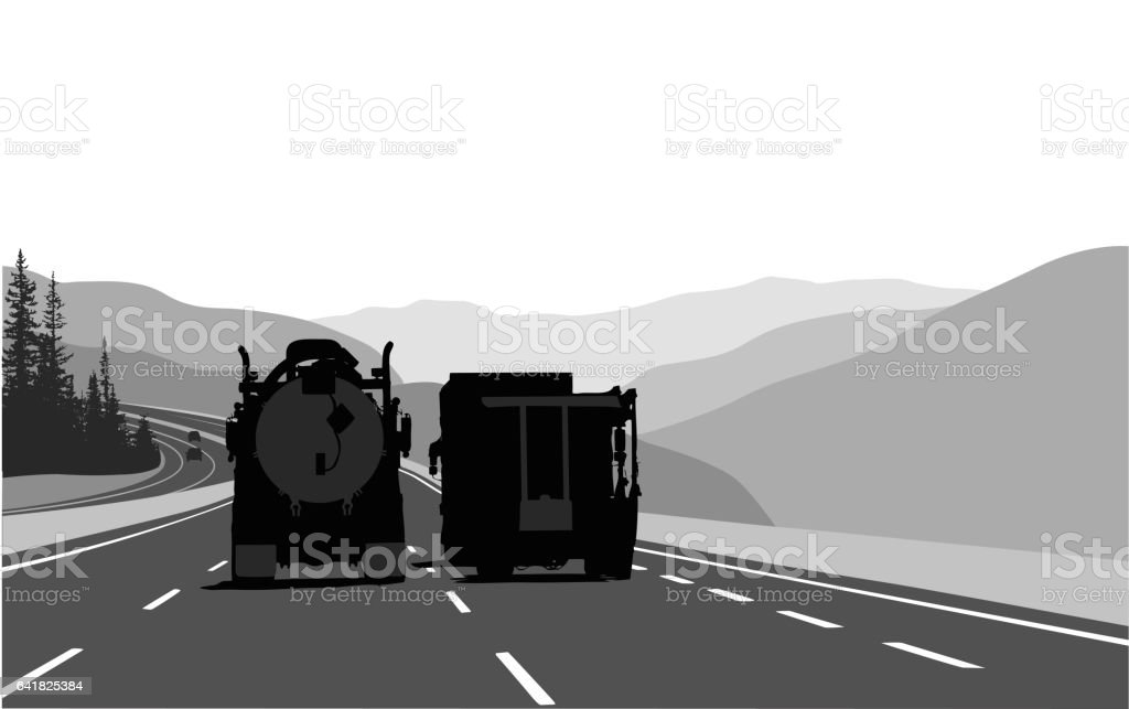 Long Distance Driving Trucks vector art illustration