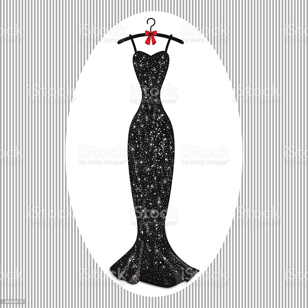 Long evening dress black on hangers vector art illustration