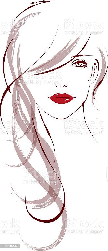 Long Hair vector art illustration
