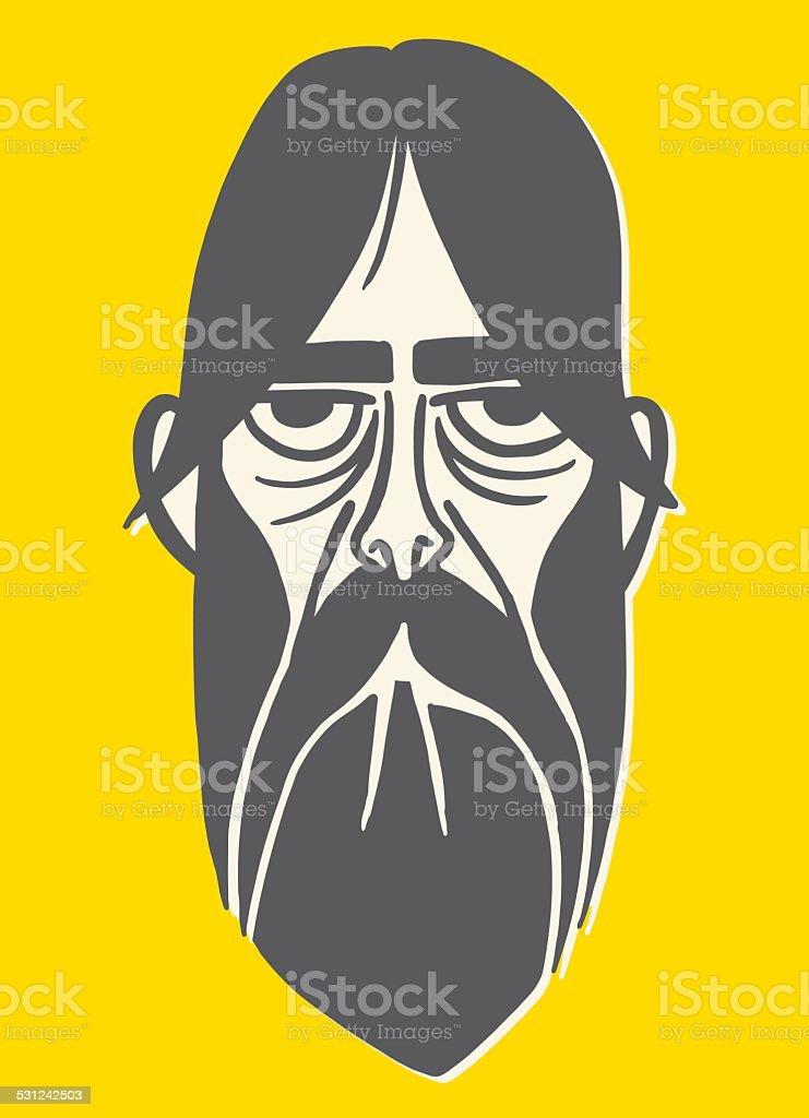 Long Haired Bearded Man vector art illustration