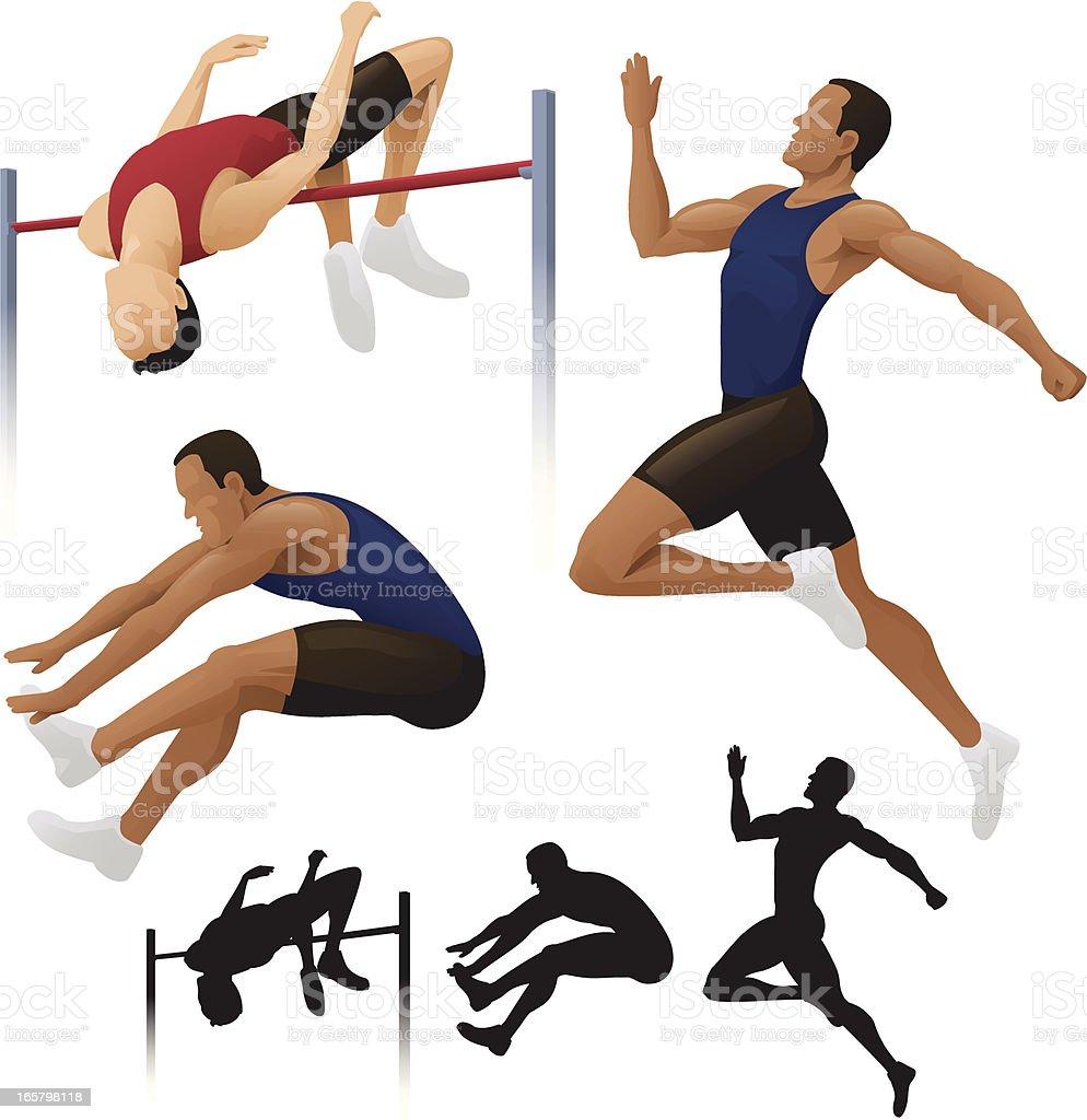 Long & High Jump. vector art illustration