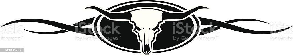 Long Horn Bull Skull vector art illustration