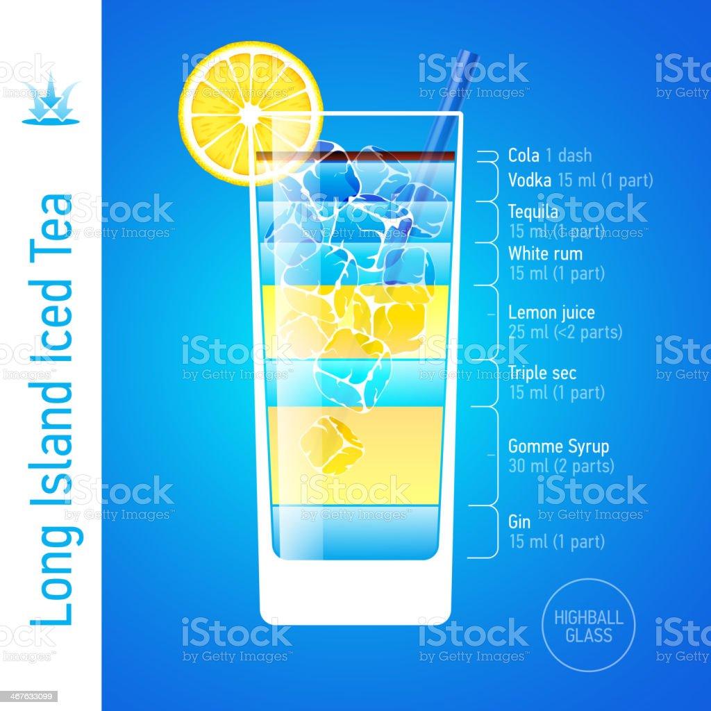 Long Island Iced Tea cocktail vector art illustration