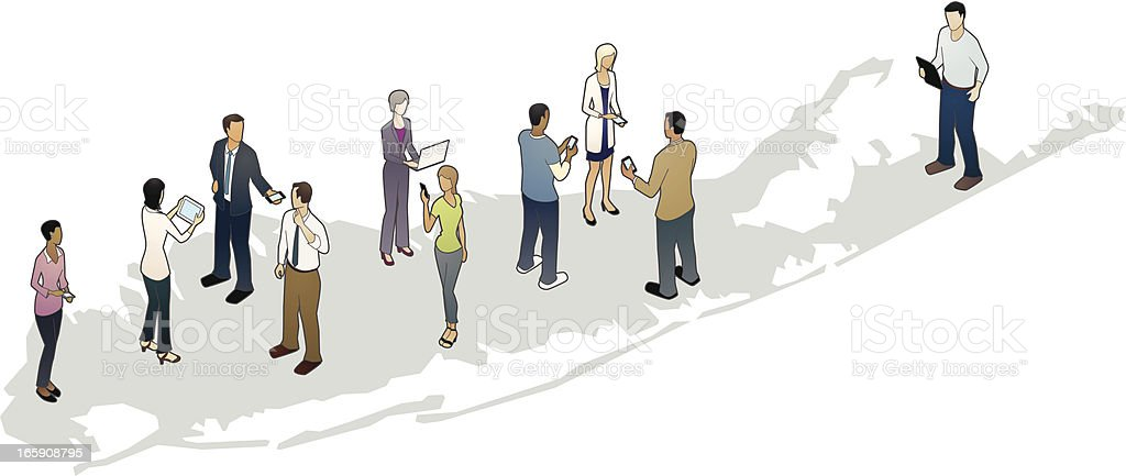 Long Island Map with Business People vector art illustration