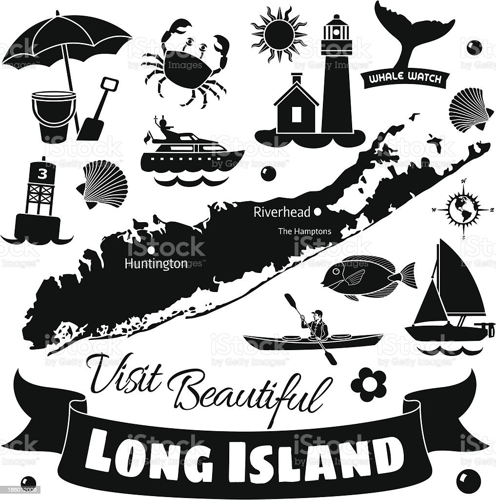 Long Island vector art illustration