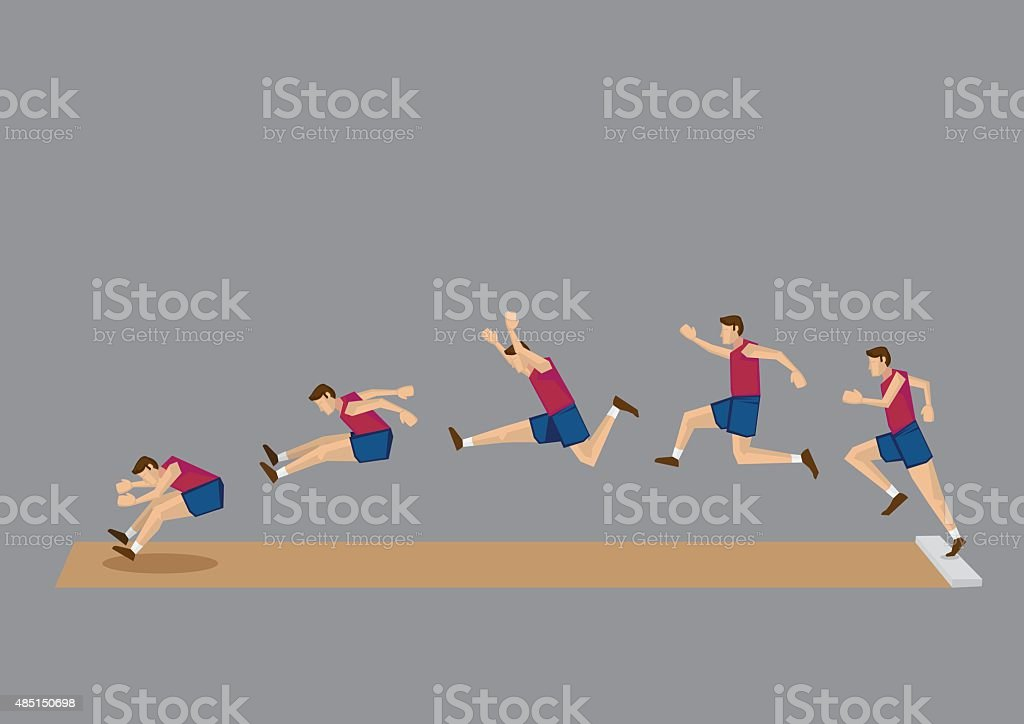 Long Jump in Action Sequential Vector Icons vector art illustration