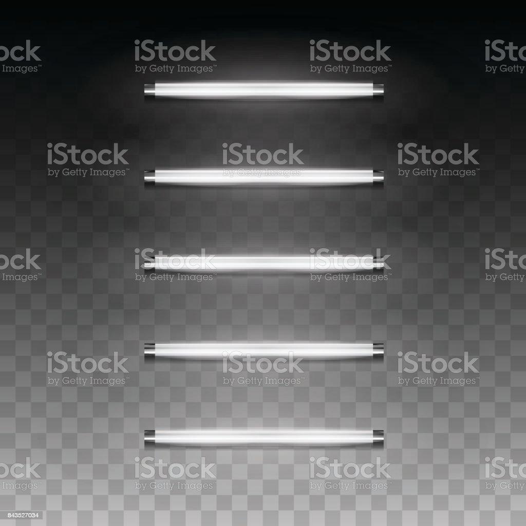 Long luminescence fluorescent energy saving lamp of daytime scattered light vector art illustration