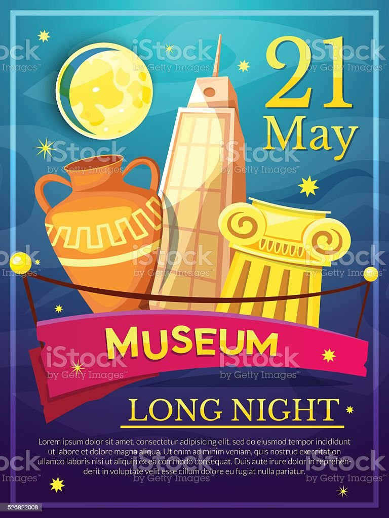 Long Night of Museums poster, vector illustration vector art illustration