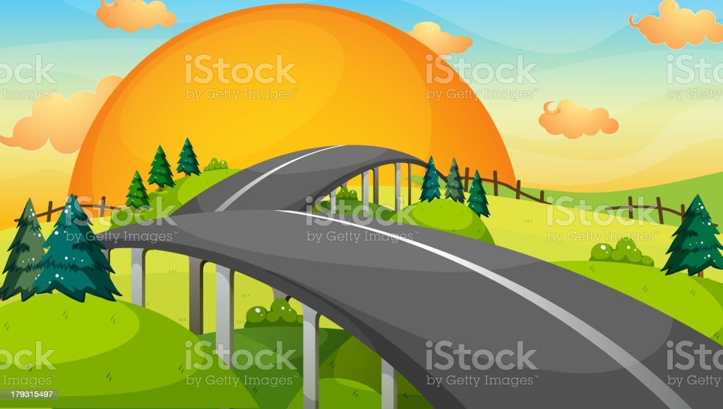 Long road with a sunset vector art illustration