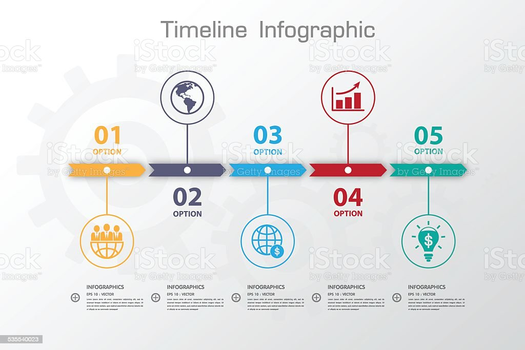 Long Shadow Design clean number timeline template/graphic or web vector art illustration