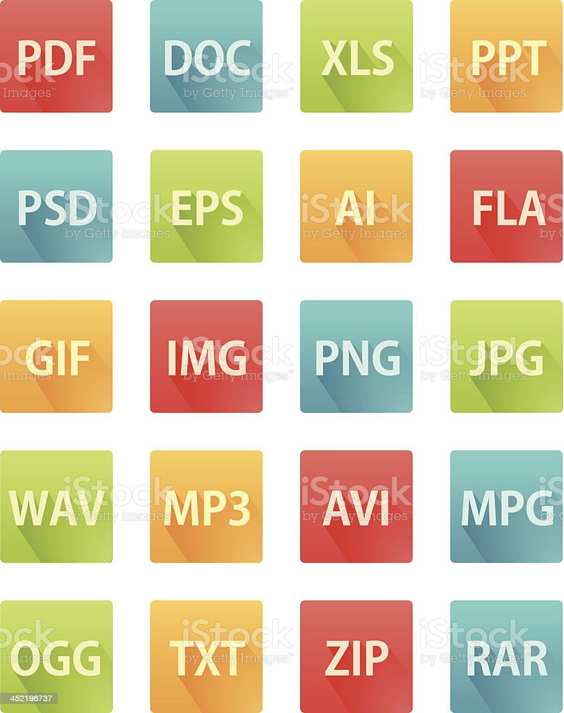 Long Shadow Flat Icons for File Formats vector art illustration