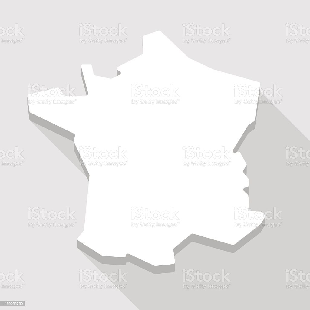 Long shadow France map icon vector art illustration