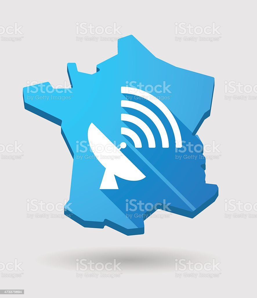 long shadow France map icon with an antenna vector art illustration