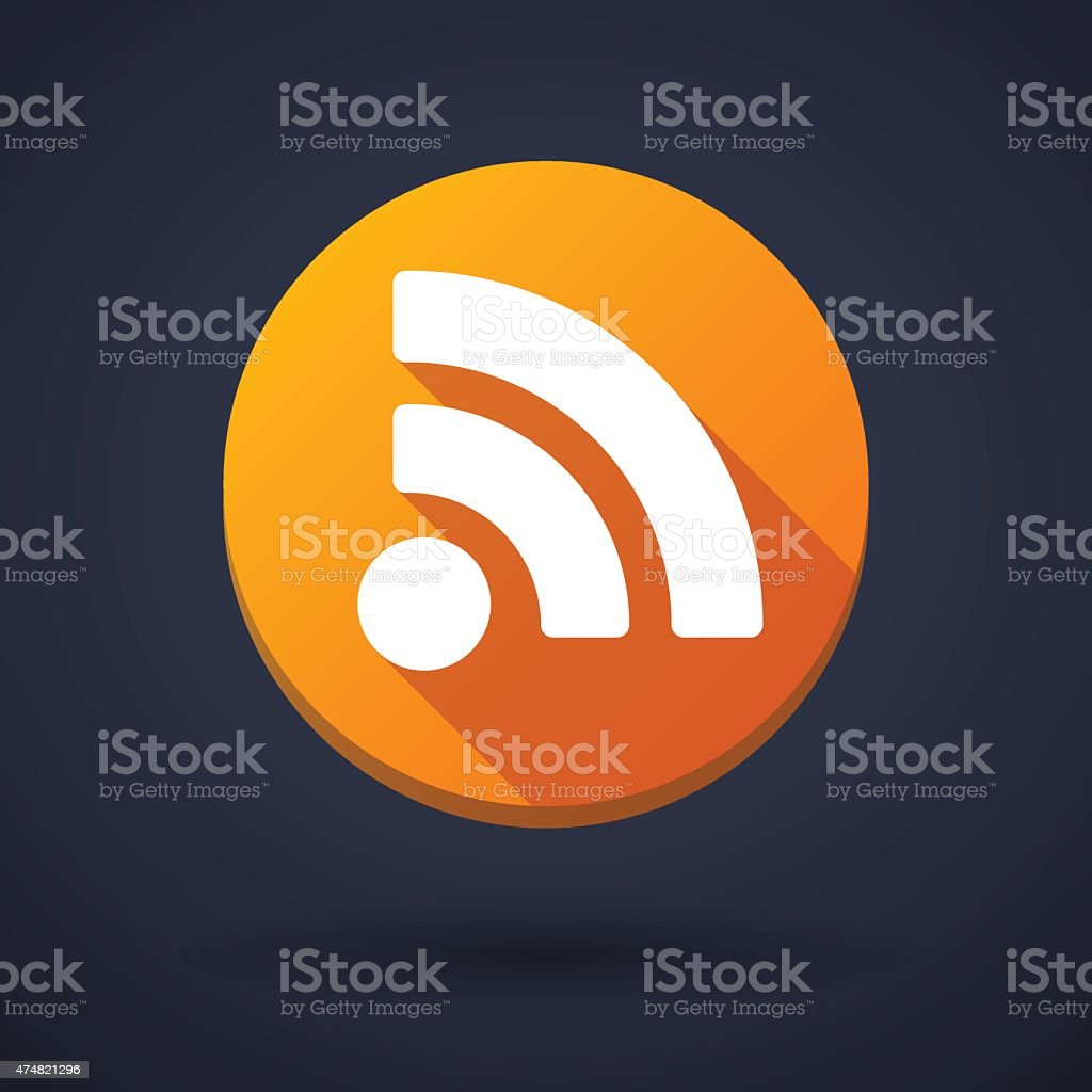 Long shadow icon with a rss sign vector art illustration