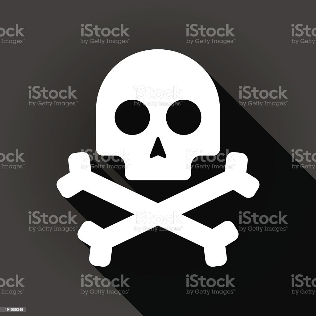 Long shadow icon with a skull vector art illustration