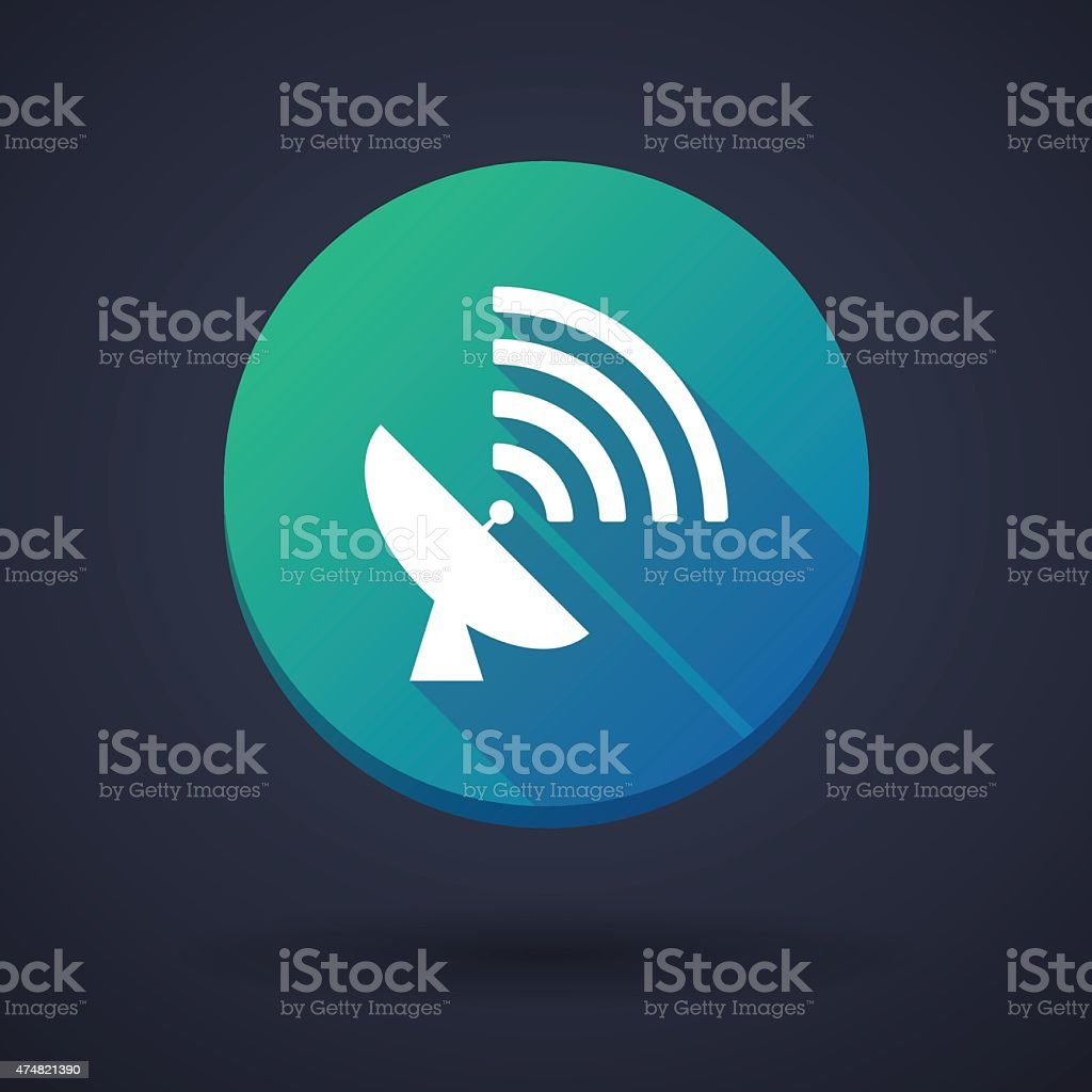 Long shadow icon with an antenna vector art illustration
