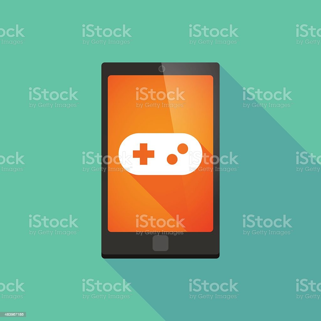 Long shadow phone icon with a game pad vector art illustration