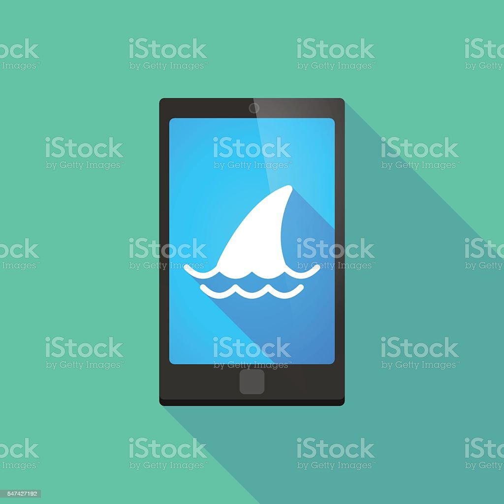 Long shadow phone icon with a shark fin vector art illustration