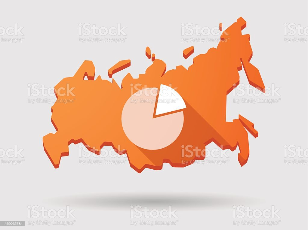 Long Shadow Russia Map Icon With A Pie Chart stock vector art