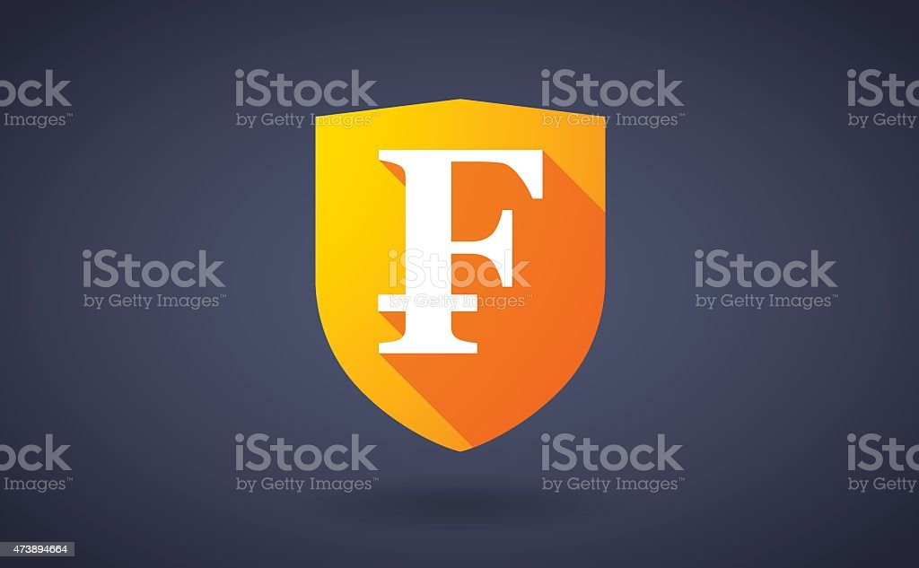 Long shadow shield icon with a currency sign vector art illustration