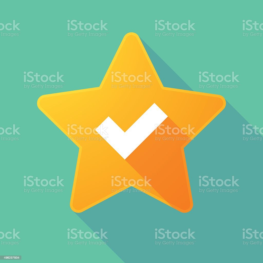 Long shadow star with a check mark vector art illustration