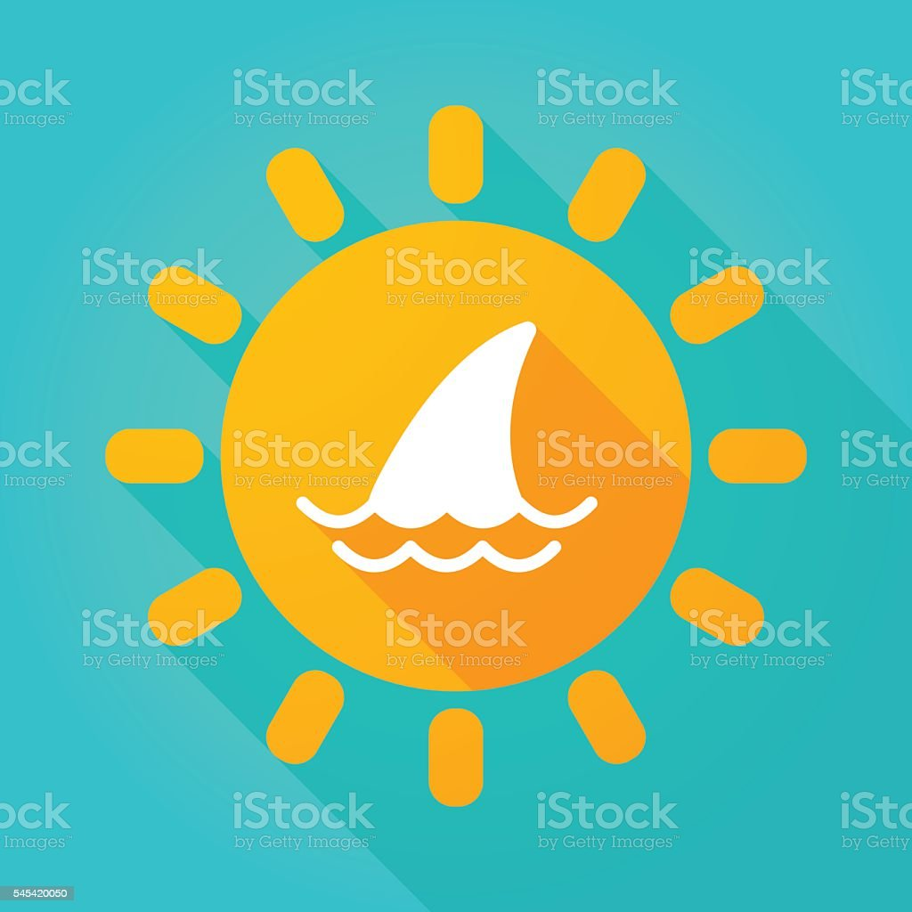 Long shadow sun icon with a shark fin vector art illustration