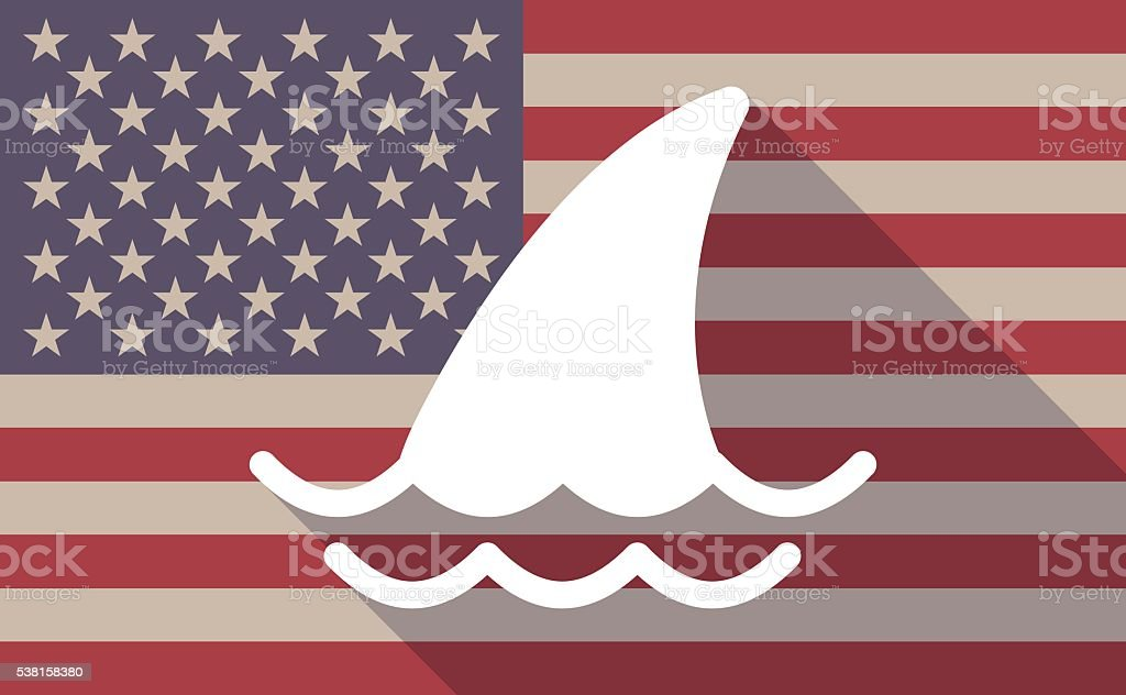 Long shadow USA flag icon with a shark fin vector art illustration