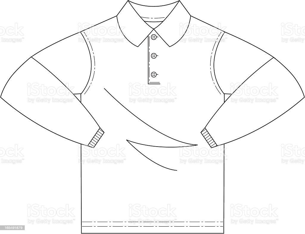 Long Sleeved Polo Shirt royalty-free stock vector art