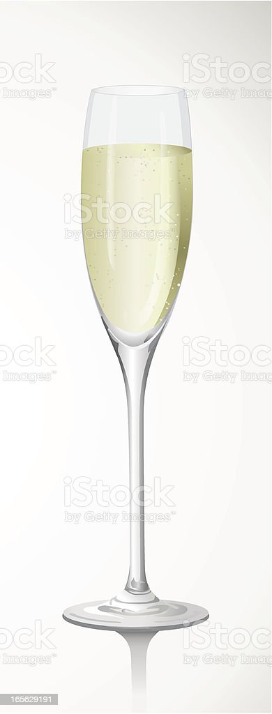 A long stem full champagne glass on a white background royalty-free stock vector art