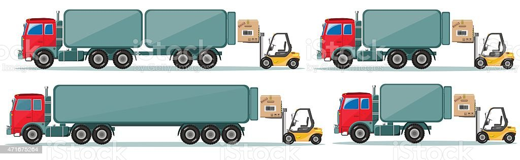 Long truck with cargo goes to the warehouse, vector illustration vector art illustration
