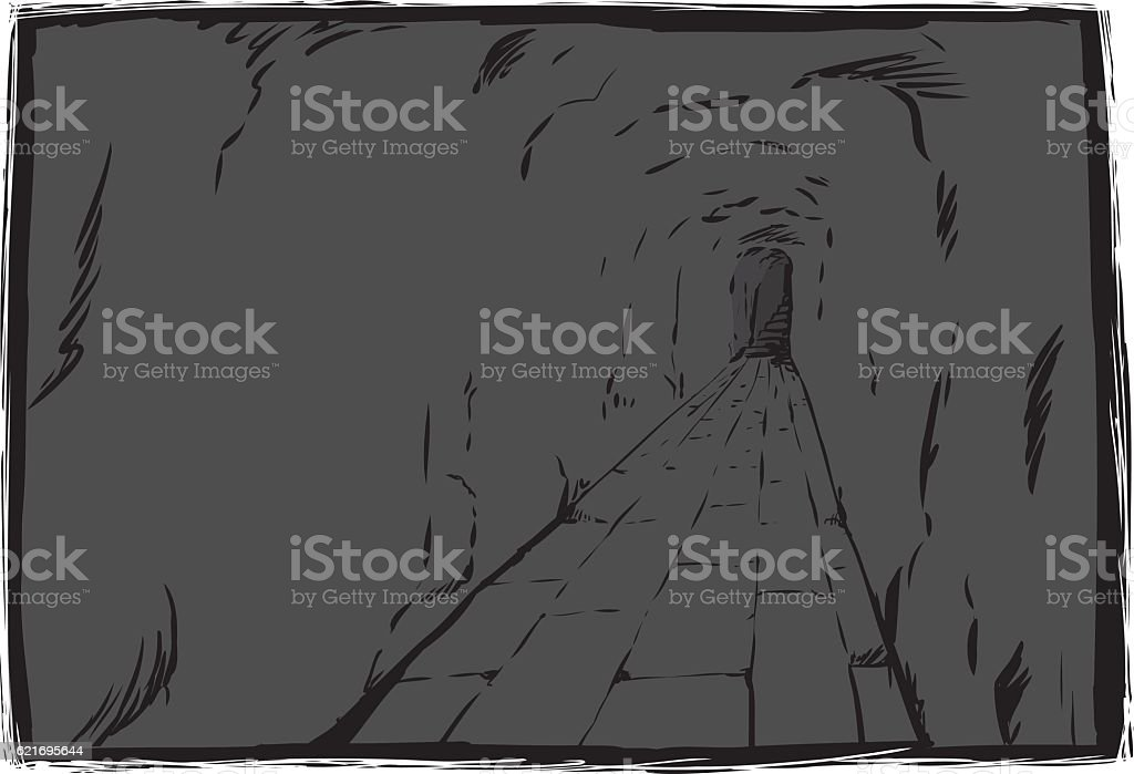 Long underground passage with copy space vector art illustration