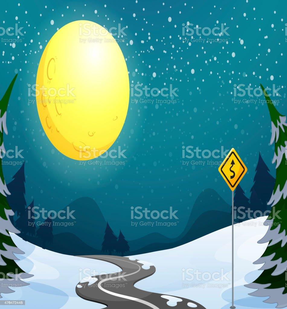 long winding road under the bright full moon royalty-free stock vector art