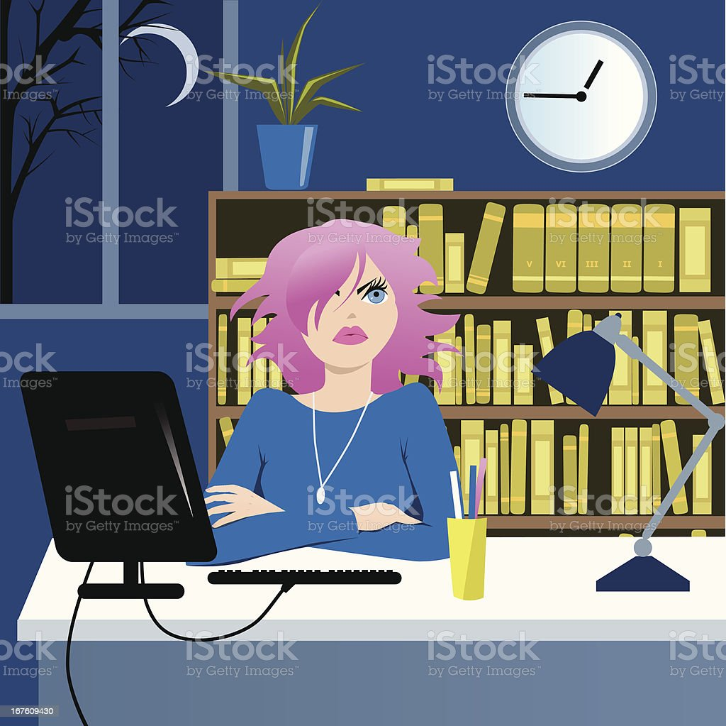 Long working hours royalty-free stock vector art