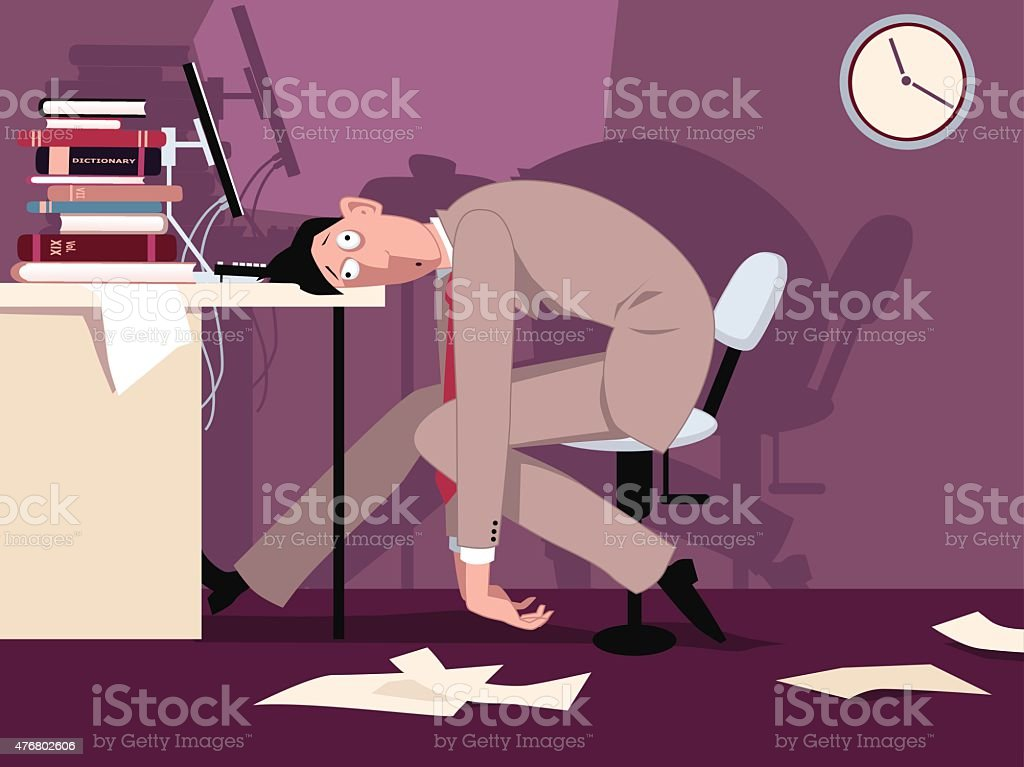 Long working hours vector art illustration