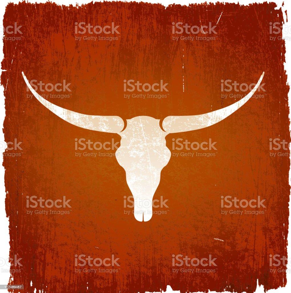 Longhorn bull skull on royalty free vector Background vector art illustration