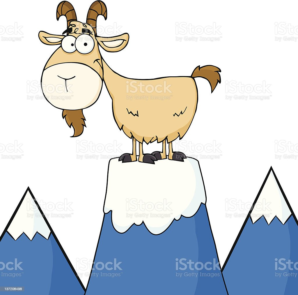 Longhorn On Top Of A Mountain Peak royalty-free stock vector art