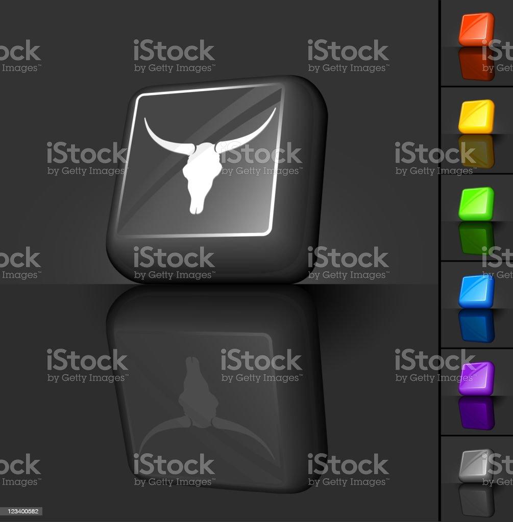 longhorn skull 3D button design royalty-free stock vector art
