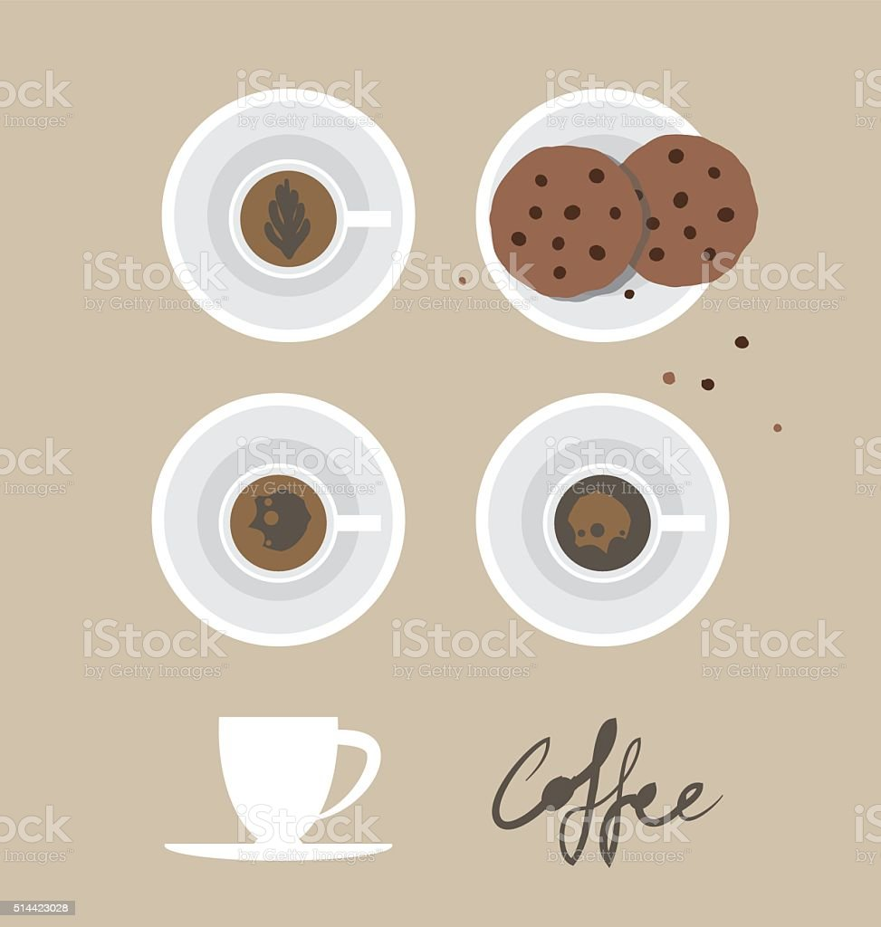 Look from above on the cookies and cups of coffee vector art illustration