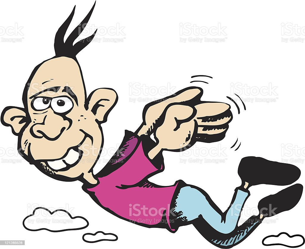 Look! I can fly! vector art illustration