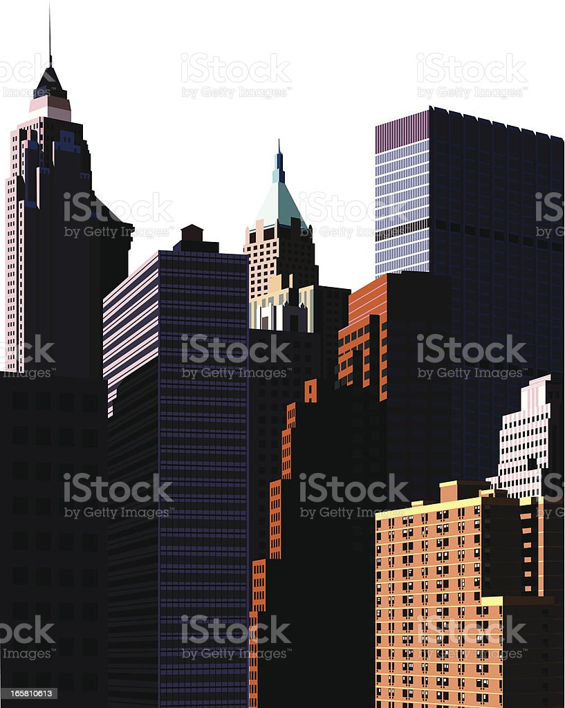 look up high buildings and large mansions royalty-free stock vector art