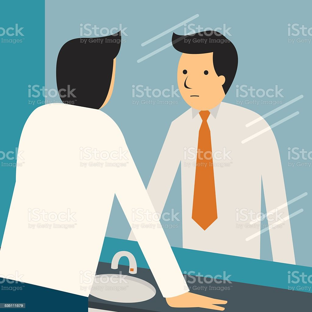 Looking at himself vector art illustration