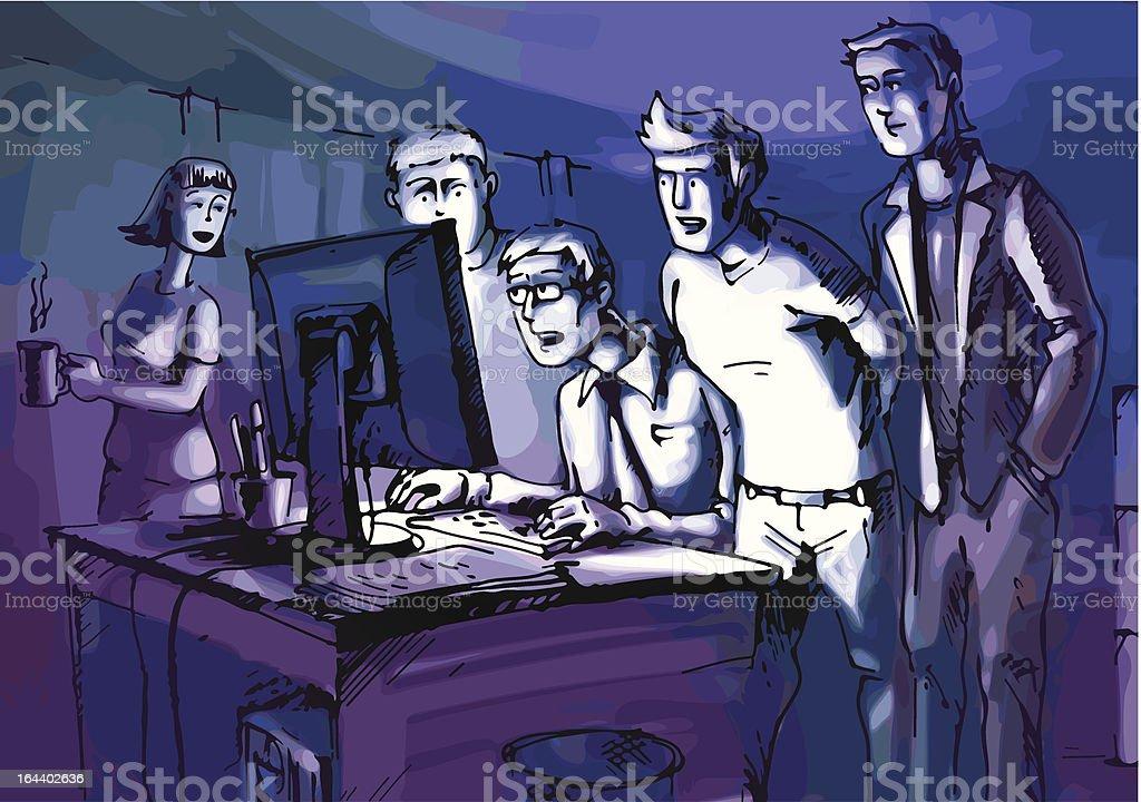Looking at monitor vector art illustration