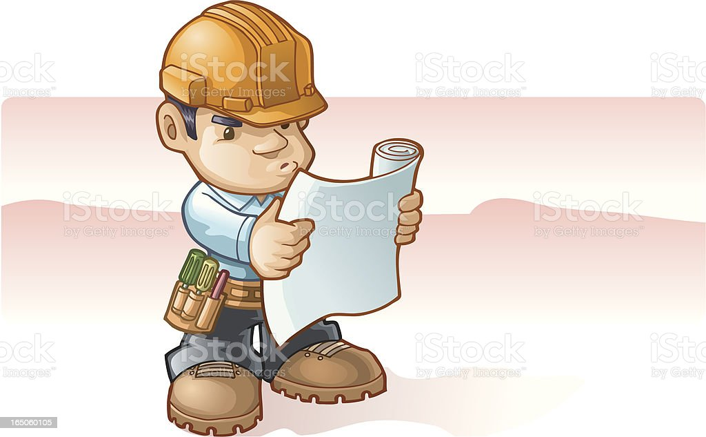 looking at the blueprints royalty-free stock vector art