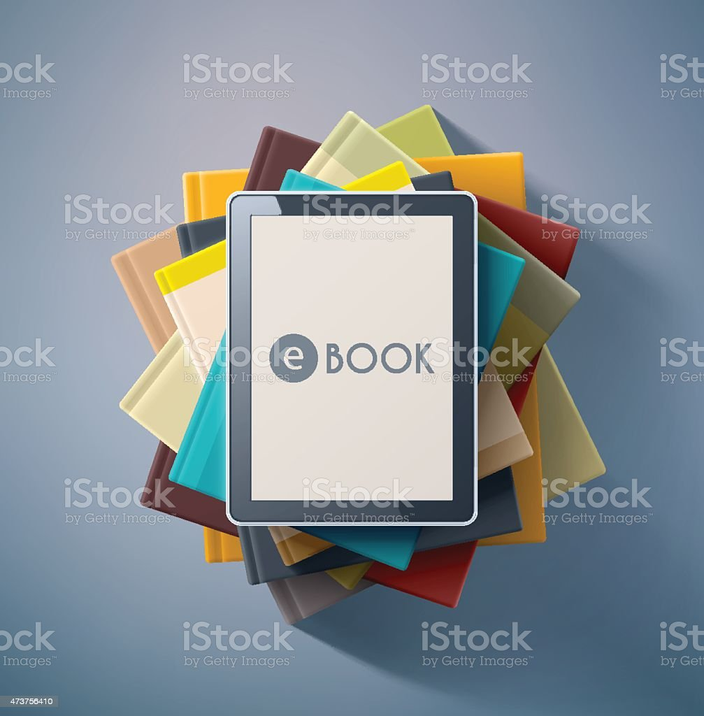 Looking down on E book on top of pile of books vector art illustration