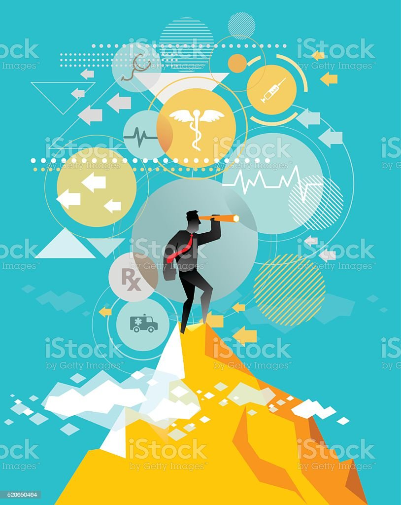 Looking for best health service vector art illustration