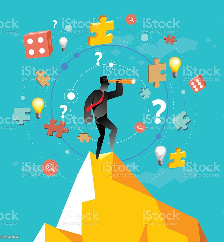 Looking for strategy vector art illustration
