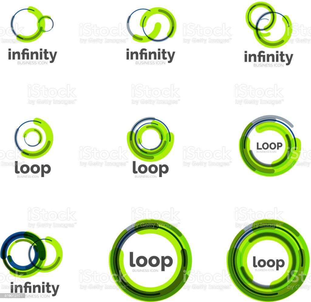 Loop, infinity business icon set vector art illustration