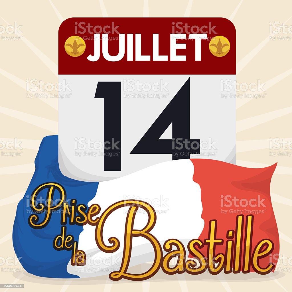 Loose leaf Calendar with Bastille Date Event vector art illustration